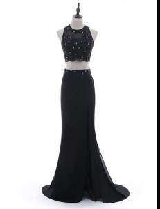 Custom Made Scoop Sleeveless Homecoming Dress With Brush Train Beading and Lace Black Chiffon
