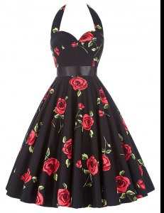 Amazing A-line Dress for Prom Red And Black Halter Top Chiffon Sleeveless Knee Length Zipper