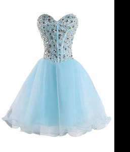 Latest Baby Blue Sweetheart Neckline Beading Cocktail Dresses Sleeveless Lace Up