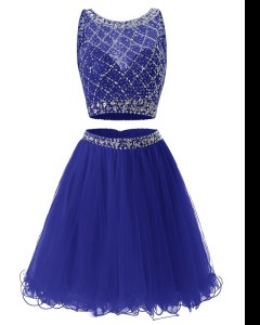 Chic A-line Royal Blue Scoop Organza Sleeveless Mini Length Side Zipper