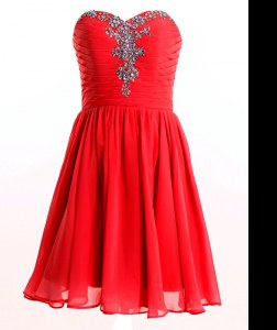 Stylish Sweetheart Sleeveless Celebrity Style Dress Mini Length Beading Red Chiffon