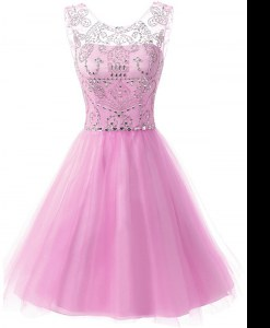 Traditional Scoop Knee Length A-line Sleeveless Lilac Junior Homecoming Dress Zipper