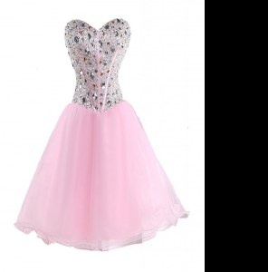 Amazing Pink Sleeveless Beading Mini Length Prom Evening Gown