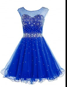 Stunning Royal Blue Evening Dress Prom and Party and For with Beading Bateau Sleeveless Zipper
