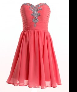 Watermelon Red Empire Beading Lace Up Chiffon Sleeveless Mini Length