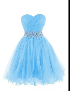 Eye-catching Belt Prom Dresses Baby Blue Lace Up Sleeveless Mini Length