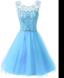 Pretty Scoop Baby Blue Zipper Prom Party Dress Beading Sleeveless Knee Length