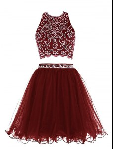 Scoop Sleeveless Homecoming Gowns Mini Length Beading Burgundy Chiffon