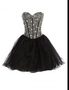 Affordable Black Lace Up Sweetheart Beading Organza Sleeveless
