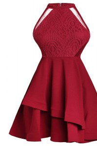 High Quality Ruffled A-line Prom Dresses Wine Red High-neck Chiffon Sleeveless Knee Length Zipper