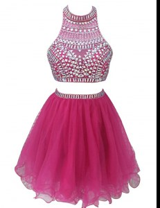 Fuchsia Sleeveless Mini Length Beading Zipper Prom Dresses