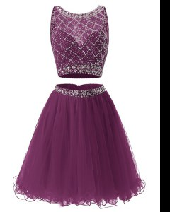 Unique Purple A-line Tulle Sweetheart Sleeveless Beading and Belt Mini Length Side Zipper Prom Gown