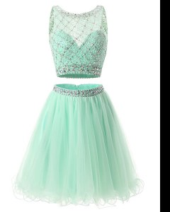 Green A-line Beading and Belt Juniors Evening Dress Side Zipper Organza Sleeveless Mini Length