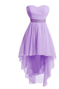 Lavender Lace Up Sweetheart Belt Cocktail Dresses Organza Sleeveless