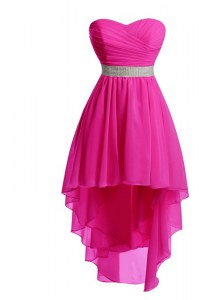 Hot Pink Lace Up Cocktail Dresses Belt Sleeveless High Low