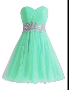Decent Sweetheart Sleeveless Chiffon Prom Gown Beading and Ruching Lace Up