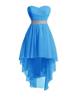 Modern Sleeveless High Low Belt Lace Up Cocktail Dress with Baby Blue