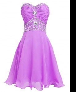 Deluxe Lilac Prom Homecoming Dress Prom and Party and For with Beading and Belt Sweetheart Sleeveless Lace Up
