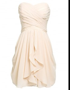 Great Champagne Column/Sheath Chiffon Sweetheart Sleeveless Ruching Knee Length Lace Up Prom Gown