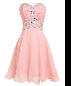 Vintage Pink Empire Organza Sweetheart Sleeveless Beading and Belt Mini Length Lace Up Prom Dresses