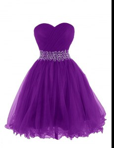 Sweetheart Sleeveless Lace Up Cocktail Dresses Purple Organza