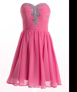 Smart Rose Pink Organza Lace Up Sweetheart Sleeveless Mini Length Club Wear Beading
