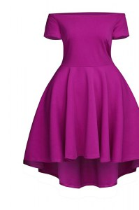 Affordable Ruching Prom Party Dress Fuchsia Side Zipper Short Sleeves Tea Length