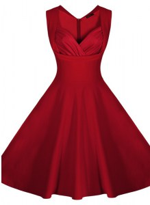 Exceptional Wine Red A-line Ruching Prom Evening Gown Zipper Satin Sleeveless Knee Length
