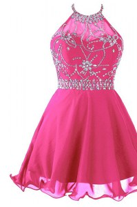 Halter Top Mini Length Hot Pink Homecoming Dress Organza Sleeveless Beading