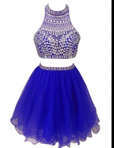 Beading Cocktail Dresses Royal Blue Zipper Sleeveless Mini Length
