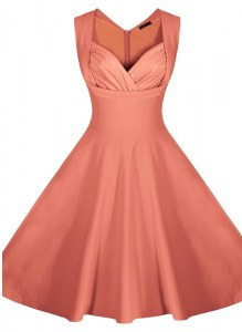 Sleeveless Knee Length Ruching Zipper Prom Dresses with Peach