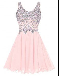 Customized Baby Pink A-line Beading Dress for Prom Zipper Chiffon Sleeveless Knee Length