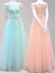 Best Selling Tulle Off The Shoulder Cap Sleeves Zipper Beading and Appliques Prom Party Dress in Light Blue and Peach