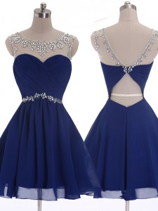 Flirting Scoop Mini Length A-line Sleeveless Navy Blue Prom Evening Gown Criss Cross
