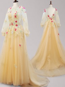Suitable Gold A-line Scoop Long Sleeves Tulle Brush Train Backless Appliques Prom Gown