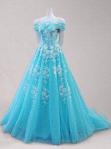 Stylish Off The Shoulder Cap Sleeves Tulle Homecoming Dress Beading and Appliques Lace Up