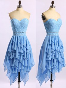 Fashion Blue Evening Dress Prom and Party and For with Beading and Ruffles Sweetheart Sleeveless Zipper