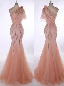Extravagant Peach One Shoulder Zipper Beading and Hand Made Flower Prom Gown Brush Train Sleeveless