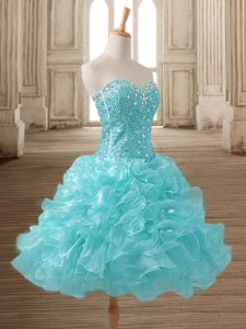 Mini Length A-line Sleeveless Aqua Blue Prom Dress Lace Up