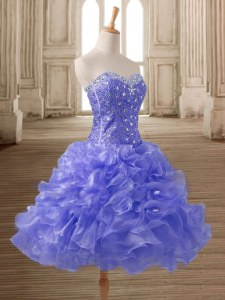 Elegant Organza Sleeveless Mini Length Dress for Prom and Beading and Ruffles
