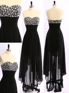 Beautiful Black Chiffon Zipper Prom Dress Sleeveless Asymmetrical Beading