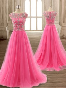 Gorgeous Scoop Cap Sleeves Tulle Brush Train Zipper in Rose Pink with Beading