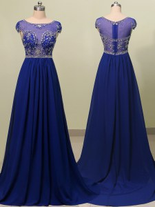 Amazing Scoop Royal Blue Cap Sleeves Chiffon Brush Train Zipper Prom Evening Gown for Prom and Party