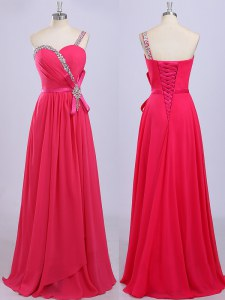 One Shoulder Hot Pink Sleeveless Floor Length Beading and Belt Zipper