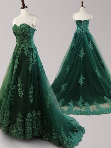 Dark Green Sweetheart Lace Up Beading and Appliques Prom Dress Brush Train Sleeveless