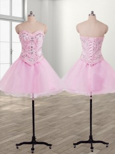 Affordable Organza Sleeveless Mini Length Prom Party Dress and Beading