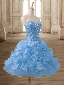Fancy Blue Sleeveless Beading and Ruffles Mini Length Evening Dress