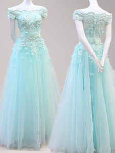 Light Blue A-line Tulle Off The Shoulder Cap Sleeves Beading and Appliques Floor Length Zipper Prom Dresses