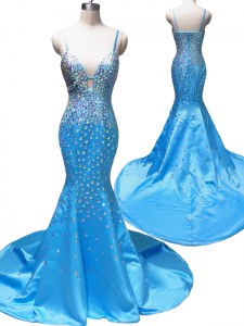 Mermaid Sleeveless Court Train Beading Zipper Dress for Prom