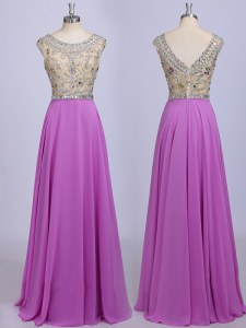 Colorful Scoop Beading Evening Dress Lilac Zipper Sleeveless Floor Length